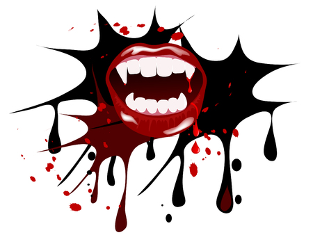 vampire teeth: Vampire mouth with drops of blood