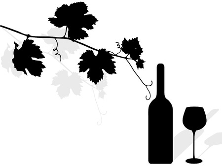 bottle of wine: Black silhouette of vine leaves, bottle and wineglass