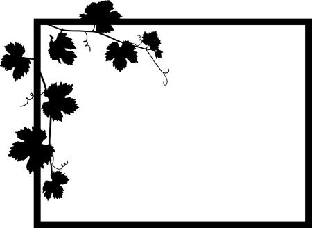 Black frame with vine leaves Vector
