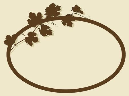 wijnbladeren: Oval frame met wijnbladeren