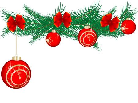 Christmas garland with red balls Vector