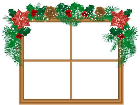 adventskranz: Fenster mit der Weihnachten-Girlande