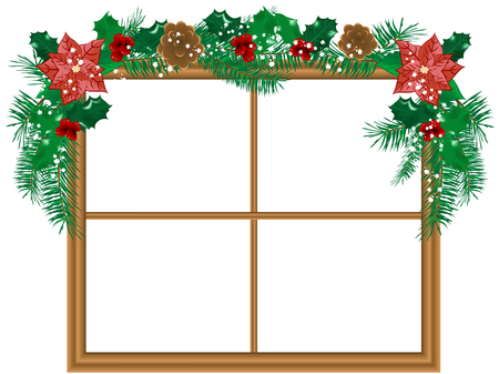 Window with the christmas garland Vector
