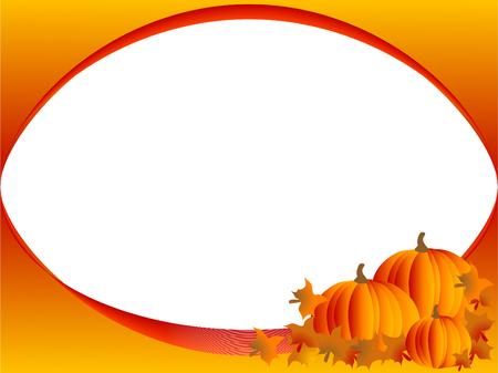 Vettore frame con tre zucche arancioni