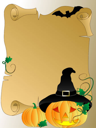 halloween decoration: Halloween background with scroll and pumpkins Illustration