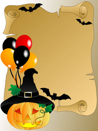 Halloween background with scroll and pumpkins Vector