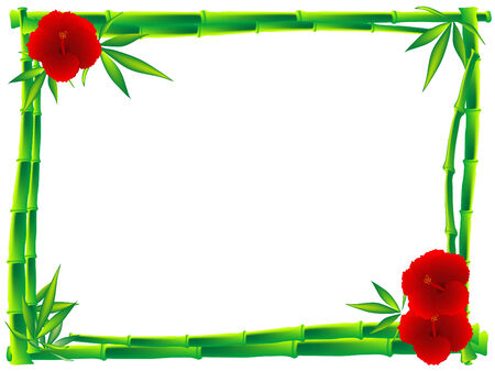 Bamboo frame with hibiscus and leaves Stock Vector - 7801027