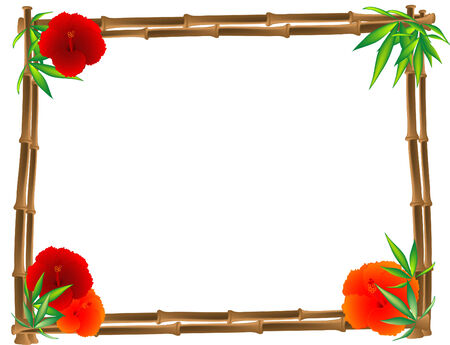 Bamboo frame with hibiscus and leaves Stock Vector - 7801026