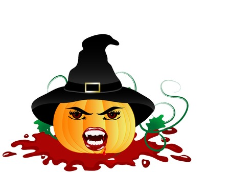 Pumpkin witch with vampire face Stock Vector - 7801032