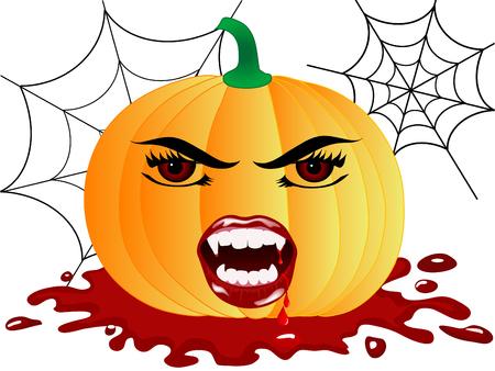 Halloween pumpkin with vampire face Vector