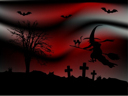 Scary bloody night and the witch Vector