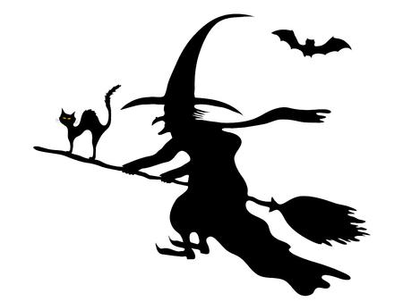 heks: Silhouet van de heks op haar bezem