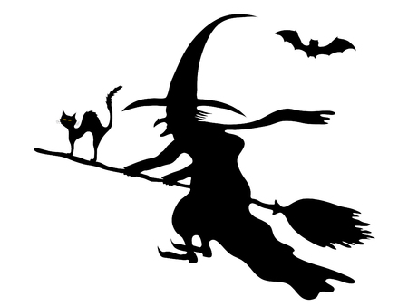 halloween witch: Silhouette of the witch on her broom
