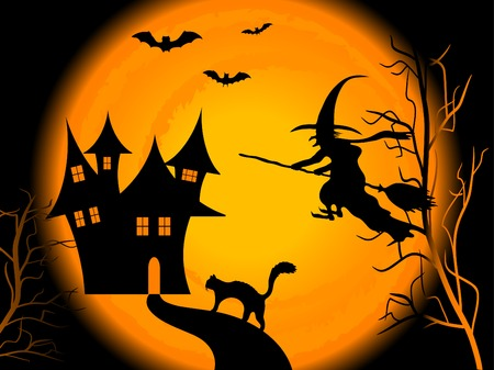 broom: Scary Halloween night - vector background Illustration