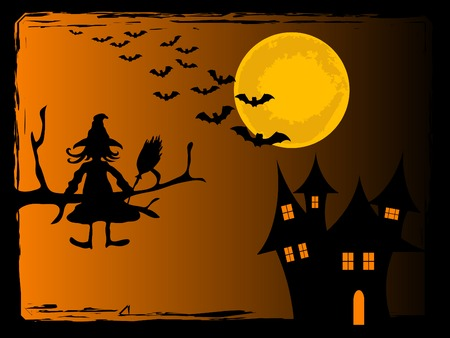 ghastly: Scary Halloween night - vector background Illustration