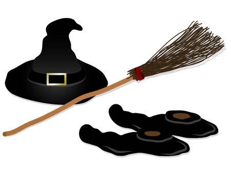 escoba: Zapatos, la escoba y el sombrero de Brujas Vectores