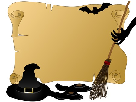 Witches hat,broom and shoes Vector