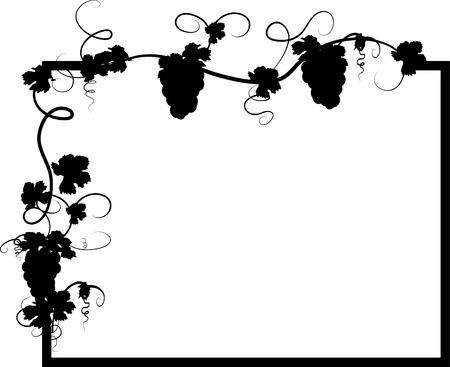 wijnbladeren: Zwart frame met druiven blade ren