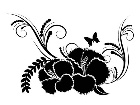 Abstract black hibiscus  illustration Vector