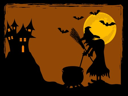 The witch cooks against the full moon Vector