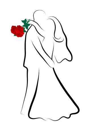 Eenvoudige silhouet van bruids paar