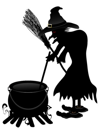 Witch cooks in her cauldron