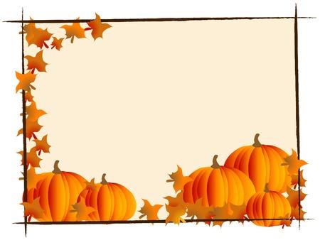 Frame with orange pumpkins -  illustration Vector
