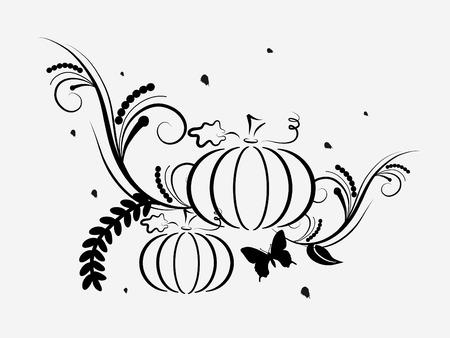 Abstract black pumpkins -   illustration Vector