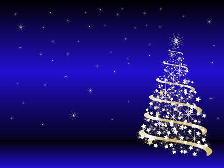 blue lights: Abstract christmas tree - vector illustration