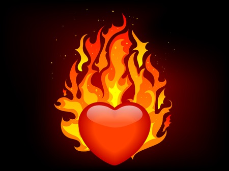 igniter: Blazing red heart - vector illustration