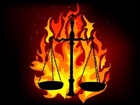balance de la justice: �chelles de la justice dans les flammes