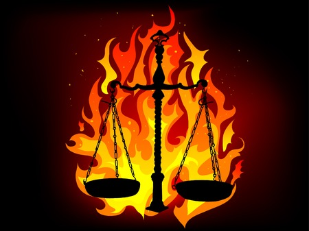scale of justice: Justice scales in the flames Illustration