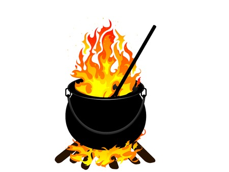 hell fire: Witches cauldron with flames - vector illustration