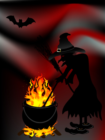 foe: Witch cooks  in her cauldron
