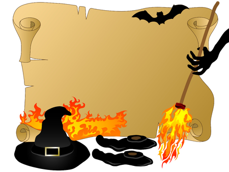 Witches hat,broom and shoes Stock Vector - 7950537