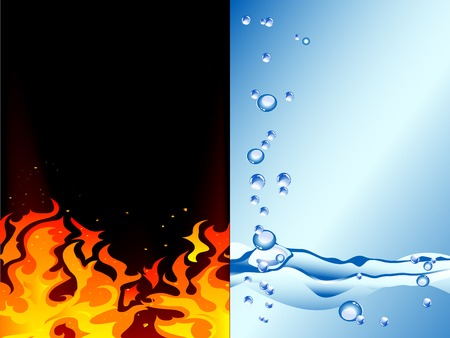 hot and cold: Fire and water - abstract vector illustration
