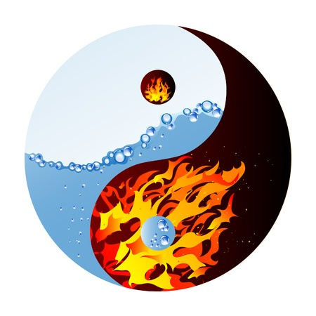 ying: Fire and water - abstract vector illustration