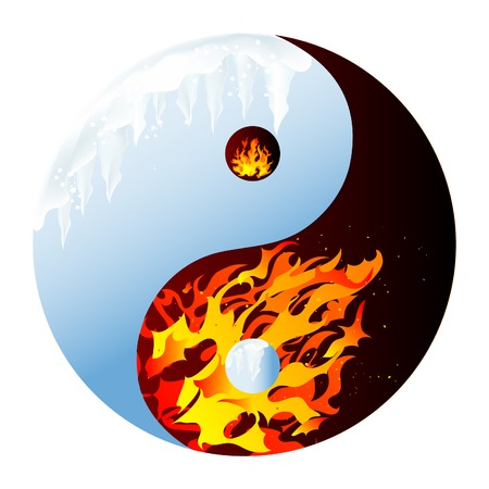 hell: Fire and ice - abstract vector illustration