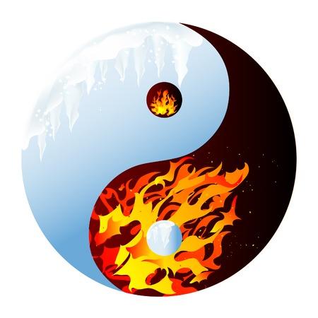 fire and ice: Vuur en ijs - abstract vector illustratie