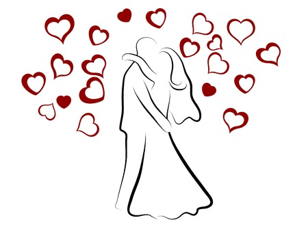 ruby: Simple silhouette of wedding couple