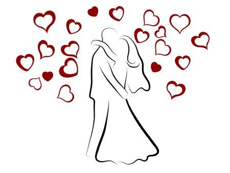 siluetas de enamorados: Simple silueta de pareja de boda  Vectores