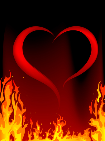 burning love: Blazing red heart - illustration Illustration