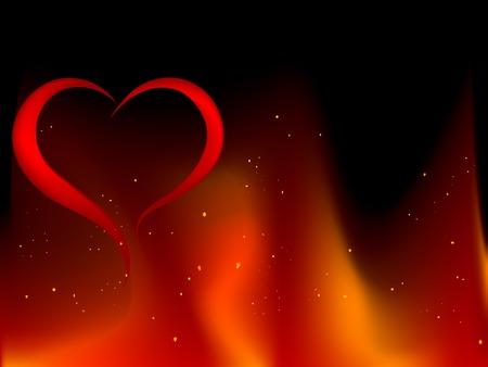 blazing: Blazing red heart - illustration Illustration
