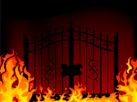 hell fire: Gate to hell - abstract illustration
