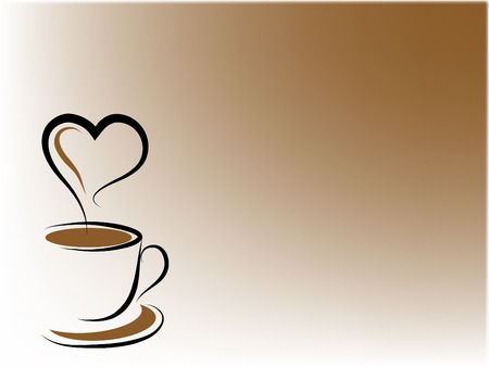 Coffee cup and heart - abstract illustration Vector