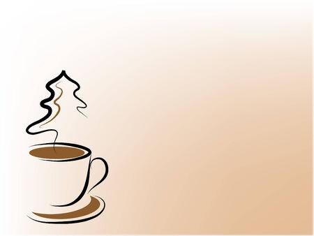 Koffie beker en Kerst boom - abstracte illustratie