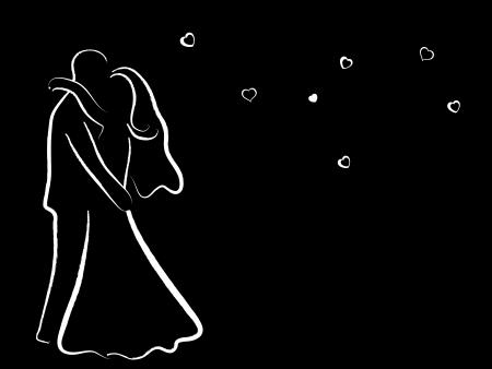 beautiful black woman: White wedding couple on black background
