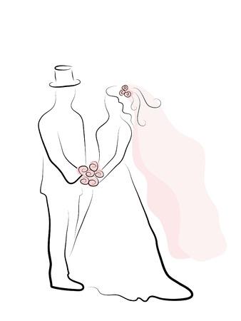 Eenvoudige silhouet van bruidspaar Vector Illustratie