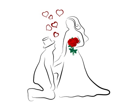 Simple silhouette of wedding couple Vector