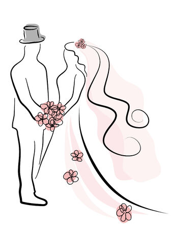 Simple silhouette of wedding couple